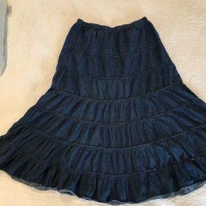 Country western full circle denim skirt m pretty